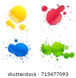 four different colors paints... | Shutterstock .eps vector #715477093