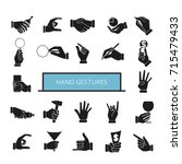 hand gesture icons set  hand... | Shutterstock .eps vector #715479433
