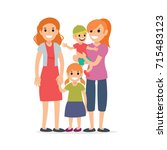 family  mothers and children | Shutterstock .eps vector #715483123