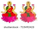 hindu mythological godess laxmi ... | Shutterstock . vector #715492423