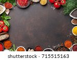 various spices and herbs on... | Shutterstock . vector #715515163