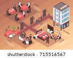 colored isometric hotel... | Shutterstock .eps vector #715516567
