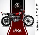 vintage scrambler motorcycle... | Shutterstock .eps vector #715531177