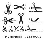 set of scissors with cut lines. ... | Shutterstock .eps vector #715539073
