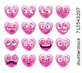 funny pink heart emoji icons... | Shutterstock .eps vector #715543207