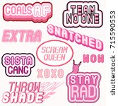 pastel goth style vector set of ... | Shutterstock .eps vector #715590553
