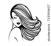 beautiful woman with long hair... | Shutterstock .eps vector #715593427