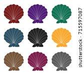 prehistoric seashell icon in... | Shutterstock .eps vector #715597087