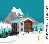 cool vector ski resort mountain ... | Shutterstock .eps vector #715608343