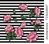 roses embroidery. satin stitch... | Shutterstock .eps vector #715610047