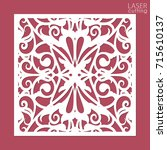 laser cut square ornamental... | Shutterstock .eps vector #715610137