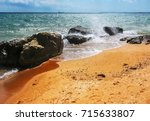 sandy coast  rocks  stones and... | Shutterstock . vector #715633807