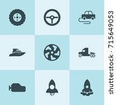 set of 9 speed filled icons... | Shutterstock .eps vector #715649053