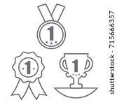 medal  trophy  and ribbon award ... | Shutterstock .eps vector #715666357