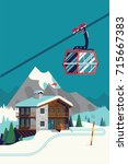 high quality vector ski resort... | Shutterstock .eps vector #715667383