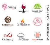 vector set of restaurant logo... | Shutterstock .eps vector #715674913
