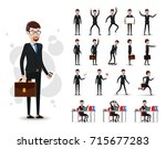 male businessman 2d character... | Shutterstock .eps vector #715677283