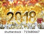 golden 2018 3d digital icon... | Shutterstock . vector #715680667