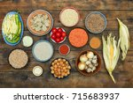 assorted raw indian cuisine on... | Shutterstock . vector #715683937