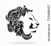 lion on a white background ... | Shutterstock .eps vector #715688437