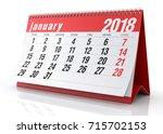 january 2018 calendar isolated