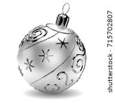 realistic silver christmas ball ... | Shutterstock .eps vector #715702807