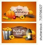 halloween headers with... | Shutterstock .eps vector #715708327
