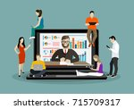 business seminar speaker... | Shutterstock .eps vector #715709317
