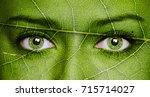 leaf texture on human face.... | Shutterstock . vector #715714027