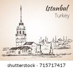istanbul maiden's tower and... | Shutterstock .eps vector #715717417