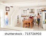 interior of busy family home...   Shutterstock . vector #715726903