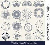 hand drawn sunburst  vintage... | Shutterstock .eps vector #715729003