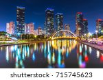 Songdo Central Park at night in Incheon, South Korea