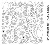 vector set of doodle icons... | Shutterstock .eps vector #715753003