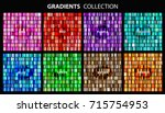 Vector set of colorful gradients.Collection of pink,red,purple,turquoise,blue,green,brown and orange backgrounds. | Shutterstock vector #715754953