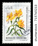 Small photo of ARGENTINA - CIRCA 1984: a stamp printed in the Argentina shows alstroemeria aurantiaca, known as the peruvian lily or lily of the Incas, flowering plant family alstroemeriaceae, series, circa 1984
