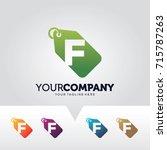 letter f price label logo... | Shutterstock .eps vector #715787263