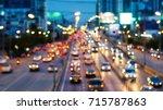 evening traffic motion blur and ... | Shutterstock . vector #715787863