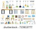 office furniture  accessories... | Shutterstock .eps vector #715813777