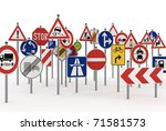 Too Many Traffic Signs On Whit...