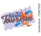 world tourism day logo vector... | Shutterstock .eps vector #715817053