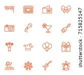 set of 16 cheerful outline... | Shutterstock .eps vector #715825147