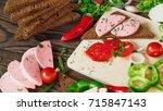 sandwich of rye bread with... | Shutterstock . vector #715847143