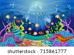 vector illustration with coral... | Shutterstock .eps vector #715861777