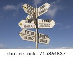 sign post at golan heights in... | Shutterstock . vector #715864837