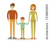 happy family. father  mother... | Shutterstock .eps vector #715882003
