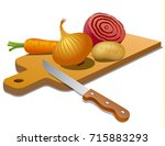 illustration of vegetables on... | Shutterstock .eps vector #715883293