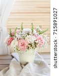 Small photo of Bouquet of roses, matthiolas and ranunculus flowers. Postcard motif.