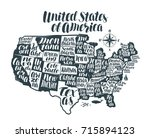 usa map country  united states... | Shutterstock .eps vector #715894123