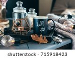 still life details of living... | Shutterstock . vector #715918423